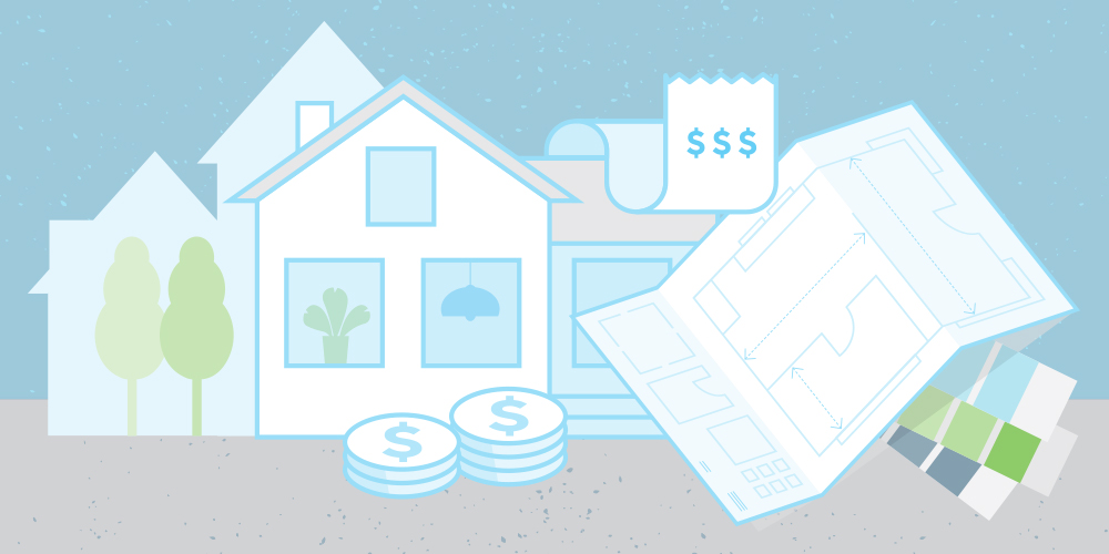Illustration in blue, green and green of a house, renovation plans, receipts, paint swatches and two piles of coins. Home renovations.