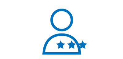 Simple blue line icon of a generic person shape with three stars on the right side of its chest.