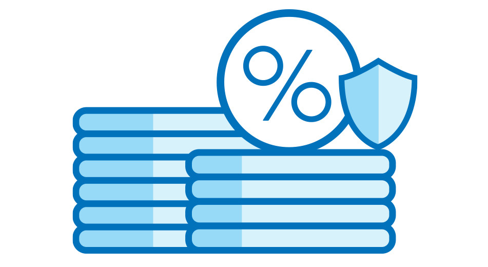 A blue illustration of a percentage sign (%) in a circle, next to a small shield, both circle and shield are on top of a stack of 4 coins. Behind them on the left is another stack of 6 coins.
