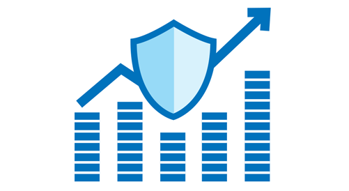 A blue illustration of a bar chart with an arrow on top of the bars and going through a shield.