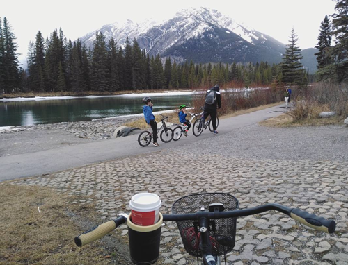 A family bicycling in Jasper